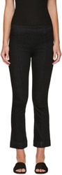 Helmut Lang Black Pull On Crop Flare Trousers