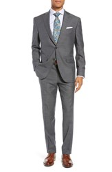 David Donahue Big And Tall Ryan Classic Fit Stretch Check Wool Suit Charcoal