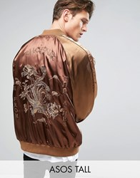 Asos Tall Souvenir Jacket With Phoenix Embroidery Brown
