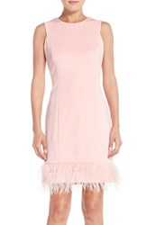 Women's Maia Feather Accent Techno Sheath Dress Pink