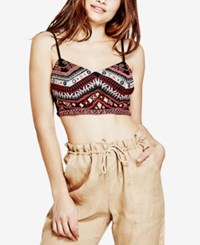 Guess Liberty Embroidered Crop Top Jet Black Multi