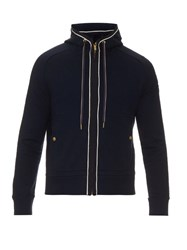Moncler Gamme Bleu Zip Up Cotton Hooded Sweatshirt