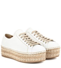 Prada Leather Espadrille Platform Sneakers White