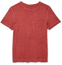 Massimo Alba Slim Fit Garment Dyed Cotton Jersey T Shirt Red