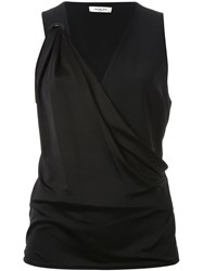 Thierry Mugler Mugler V Neck Draped Sleeveless Top Black