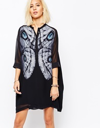 Religion Fatigue Shirt Dress With Butterfly Print Navy