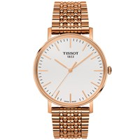 Tissot T1094103303100 Men's Everytime Mesh Bracelet Strap Watch Rose Gold White