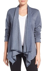 Bobeau Women's Peplum Back Open Front Cardigan Blue
