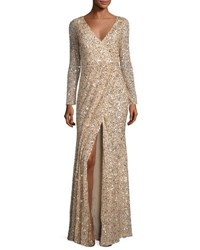 Rachel Gilbert Long Sleeve Sequined V Neck Gown Gold
