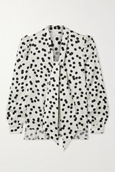 Racil Solange Pussy Bow Polka Dot Satin Jacquard Blouse Off White