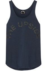 The Upside Issy Printed Cotton Jersey Tank Storm Blue