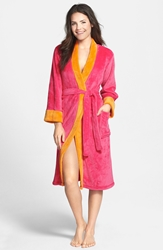 Echo Colorblock Microvelour Kimono Robe Pink Orange