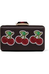 Kotur Espey Cherry Jackpot Embellished Satin Clutch Black