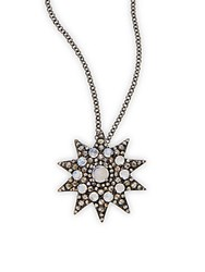 Bavna 1.54 Tcw Champagne Rose Cut Diamonds And Rainbow Moonstone In Sterling Silver Star Necklace