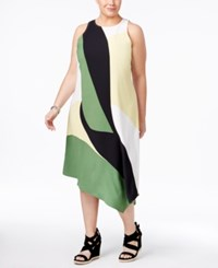 Alfani Plus Size Asymmetrical Midi Dress Only At Macy's Green Abstract
