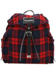 Dsquared2 Tartan Backpack Men Leather Wool One Size Blue