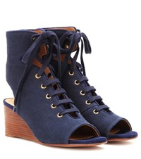 Chloe Lace Up Wedge Sandals Blue