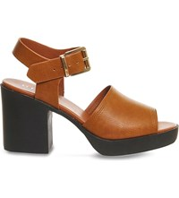 Office Mission Faux Leather Heeled Sandals Tan