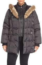 Plus Size Women's Betsey Johnson Corset Detail Quilted Parka With Faux Fur Trim