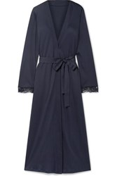 Hanro Flora Belted Lace Trimmed Mercerized Cotton Jersey Robe Midnight Blue