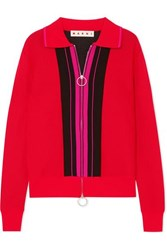 Marni Color Block Mohair Blend Top Red