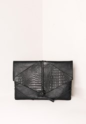 Missguided Croc Faux Leather Thread Through Clutch Bag Black Black