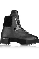 Y 3 Hike Star Shearling Trimmed Leather Boots