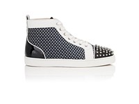 Christian Louboutin Men's Lou Spikes Flat Sneakers Navy White Black