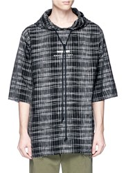 Song For The Mute 'Wander' Print Check Plaid Quarter Sleeve Hoodie Multi Colour