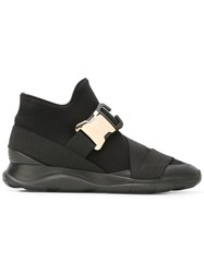 Christopher Kane Safety Buckle Hi Top Sneakers Black