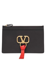 Valentino V Ring Leather Pouch Black