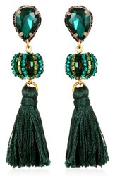 Suzanna Dai Women's Lisboa Small Tassel Gumball Drop Earrings Emerald Olive