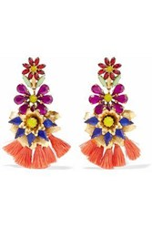 Elizabeth Cole Gold Plated Crystal And Tassel Earrings Multicolor