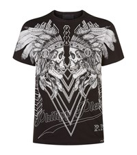 Philipp Plein Dramatic Embellished Skulls T Shirt Male Black
