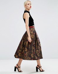 Asos Floral Midi Prom Skirt With Contrast Waistband Multi
