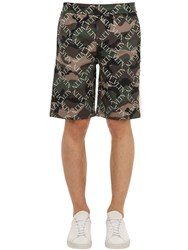 Valentino Logo Printed Jersey Shorts W Side Bands Green