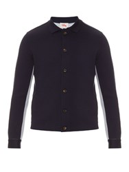 Orley Bi Colour Wool And Silk Blend Knit Shirt Navy