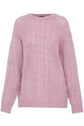 Line Cable And Open Knit Sweater Lavender