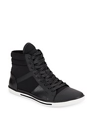 Kenneth Cole Sun Down Leather And Textile High Top Sneakers Black