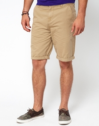 Asos Chino Shorts In Longer Length Stone