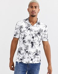 Only And Sons Revere Collar Palm Print T Shirt In White