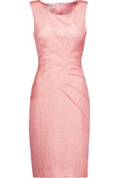 Oscar De La Renta Textured Stretch Cotton And Silk Blend Mini Dress Blush