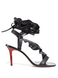 Isabel Marant Ansel Ruffle Trimmed Leather Sandals Black