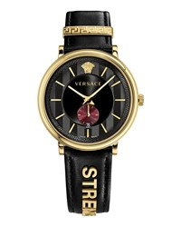 Versace 42Mm Manifesto Watch With Black Strength Leather Strap