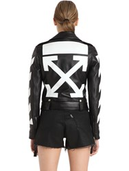 Off White Diagonal Stripes Leather Biker Jacket