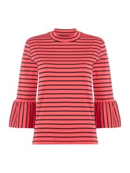 Maison Scotch Stripe Long Sleeve Tee With Flared Sleeves Red