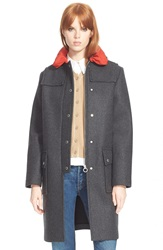 Marc By Marc Jacobs 'Norman' Bonded Wool Blend Techno Duffle Coat Caviar Grey Melange