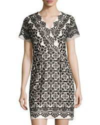 Shoshanna Maria Embroidered Sheath Dress Black White
