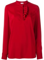 Brunello Cucinelli Ruffle Front Blouse Red