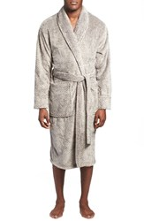 Men's Daniel Buchler Mosaic Stripe Fleece Robe Slate